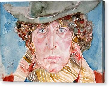 Tom Baker Doctor Who Watercolor Portrait Canvas Print by Fabrizio Cassetta