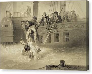 Tom Saves Evangeline, Plate 4 Canvas Print by Adolphe Jean-Baptiste Bayot