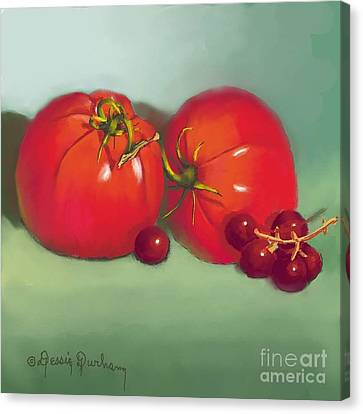 Tomatoes And Concord Grapes Canvas Print by Dessie Durham
