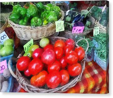 Tomatoes String Beans And Peppers At Farmer's Market Canvas Print by Susan Savad
