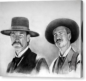 Tombstones Wyatt And Doc Canvas Print by Caleb Goodman