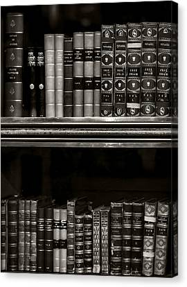 Tomes Bw Canvas Print by Heather Applegate
