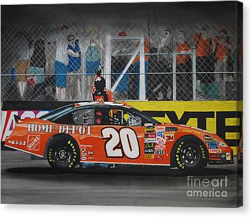 Tony Stewart Climbs For The Checkered Flag Canvas Print by Paul Kuras