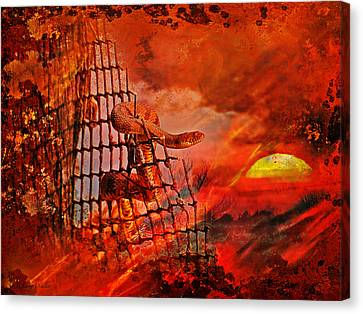 Too Hot To Handle-water Moccasin Canvas Print by J Larry Walker