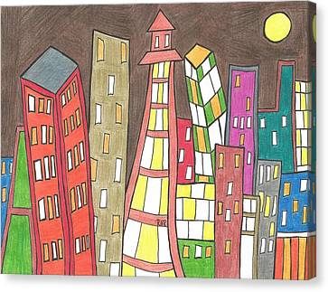 Toon City Scape Canvas Print by Ray Ratzlaff