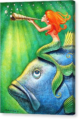 Toot Your Own Seashell Mermaid Canvas Print by Sue Halstenberg