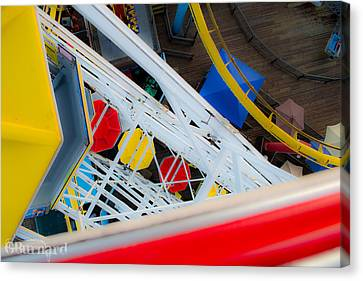 Top Of The Carousel Santa Monica Pier Canvas Print by Guinapora Graphics