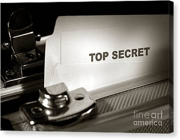 Top Secret Document In Armored Briefcase Canvas Print by Olivier Le Queinec
