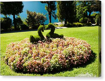Topiary And Flower Bed In A Garden Canvas Print by Panoramic Images