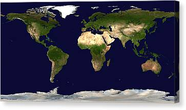 Topo Map Of The World Canvas Print by Sebastian Musial