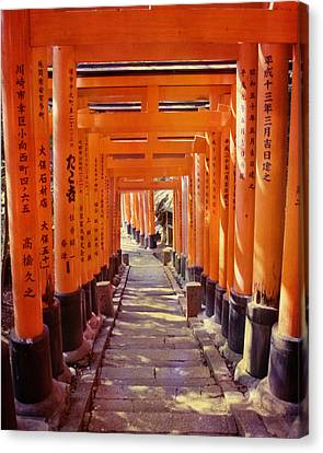 Torii Gates At The Fushimi Inari Shrine Canvas Print by Juli Scalzi