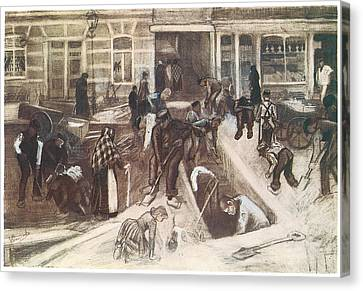 Torn-up Street With Diggers Canvas Print by Vincent van Gogh