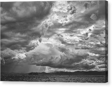 Tornado Clouds Over Lake Champlain Burlington Vermont Black And White Canvas Print by Andy Gimino
