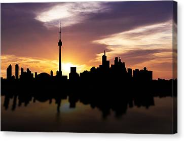 Toronto Canada Sunset Skyline  Canvas Print by Aged Pixel