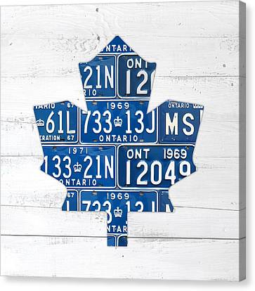 Toronto Maple Leafs Hockey Team Retro Logo Vintage Recycled Ontario Canada License Plate Art Canvas Print by Design Turnpike
