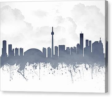 Toronto Ontario Skyline - Blue 03 Canvas Print by Aged Pixel