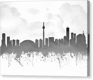 Toronto Ontario Skyline - Gray 03 Canvas Print by Aged Pixel