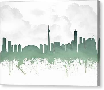 Toronto Ontario Skyline - Teal 03 Canvas Print by Aged Pixel
