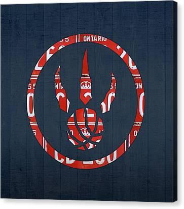 Toronto Raptors Basketball Team Retro Logo Vintage Recycled Ontario License Plate Art Canvas Print by Design Turnpike