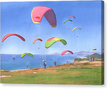 Torrey Pines Gliderport Canvas Print by Mary Helmreich