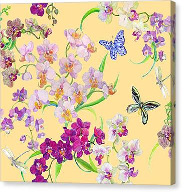 Tossed Orchids Canvas Print by Kimberly McSparran