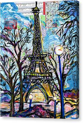 Tour Eiffel Vue De L'aquarium Canvas Print by Everett Spruill