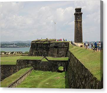 Tourists Along Rampart Of Galle Fort Canvas Print by Panoramic Images