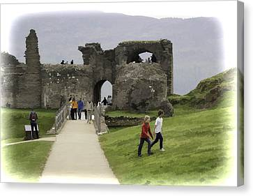 Tourists And The Path At Ruins Of The Urquhart Castle Canvas Print by Ashish Agarwal