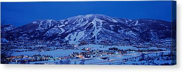 Tourists At A Ski Resort, Mt Werner Canvas Print by Panoramic Images