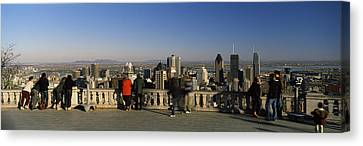 Tourists At An Observation Point Canvas Print by Panoramic Images