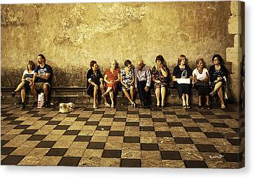 Tourists On Bench - Taormina - Sicily Canvas Print by Madeline Ellis