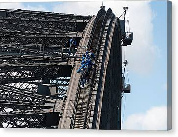 Tourists Strapped Together For Climb Canvas Print by Panoramic Images