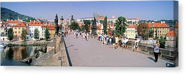 Tourists Walking On A Bridge, Charles Canvas Print by Panoramic Images
