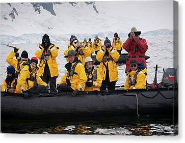 Tourists Whale-watching In Antarctica Canvas Print by Peter Menzel