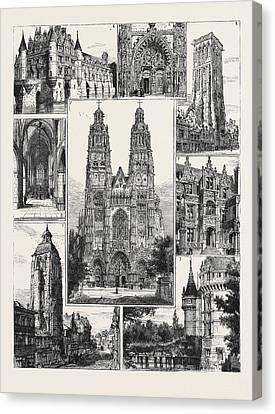 Tours 1. The Cathedral St. Gatien 2. Tour De Charlemagne 3 Canvas Print by English School