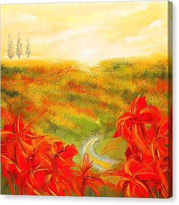 Towards The Brightness - Fields Of Poppies Painting Canvas Print by Lourry Legarde