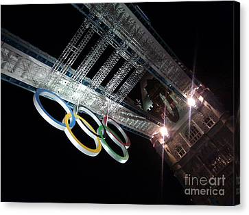 Tower Bridge London Olympics Night Canvas Print by Ted Williams