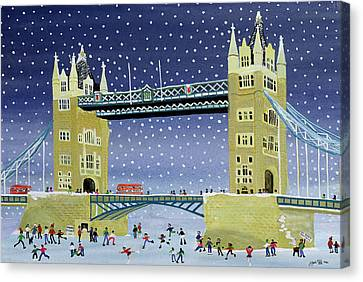 Tower Bridge Skating On Thin Ice Canvas Print by Judy Joel
