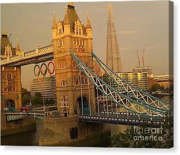 Tower Bridge London Olympics Canvas Print by Ted Williams