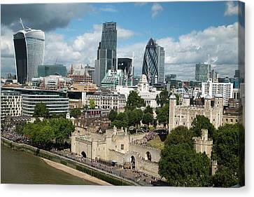 Tower Of London And City Skyscrapers Canvas Print by Mark Thomas