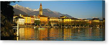 Town At The Waterfront, Ascona, Ticino Canvas Print by Panoramic Images