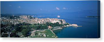 Town At The Waterfront, Corfu, Greece Canvas Print by Panoramic Images