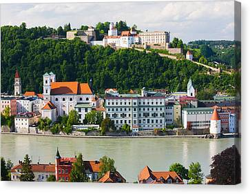 Town At The Waterfront, Inn River Canvas Print by Panoramic Images
