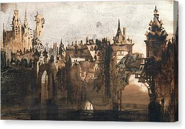 Town With A Broken Bridge Canvas Print by Victor Hugo