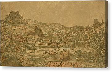 Town With Four Towers Canvas Print by Hercules Segers