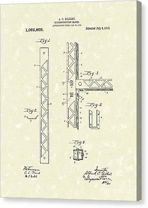 Toy Blocks 1913 Patent Art Canvas Print by Prior Art Design