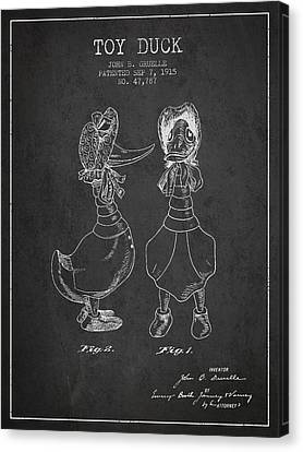 Toy Duck Patent From 1915 - Female - Charcoal Canvas Print by Aged Pixel