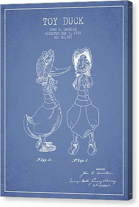 Toy Duck Patent From 1915 - Female - Light Blue Canvas Print by Aged Pixel