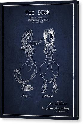Toy Duck Patent From 1915 - Female - Navy Blue Canvas Print by Aged Pixel
