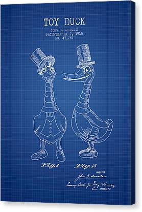 Toy Duck Patent From 1915 - Male - Blueprint Canvas Print by Aged Pixel